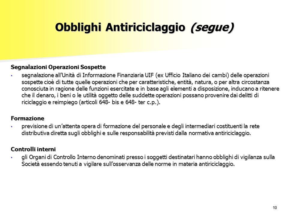 Obblighi Antiriciclaggio (segue)