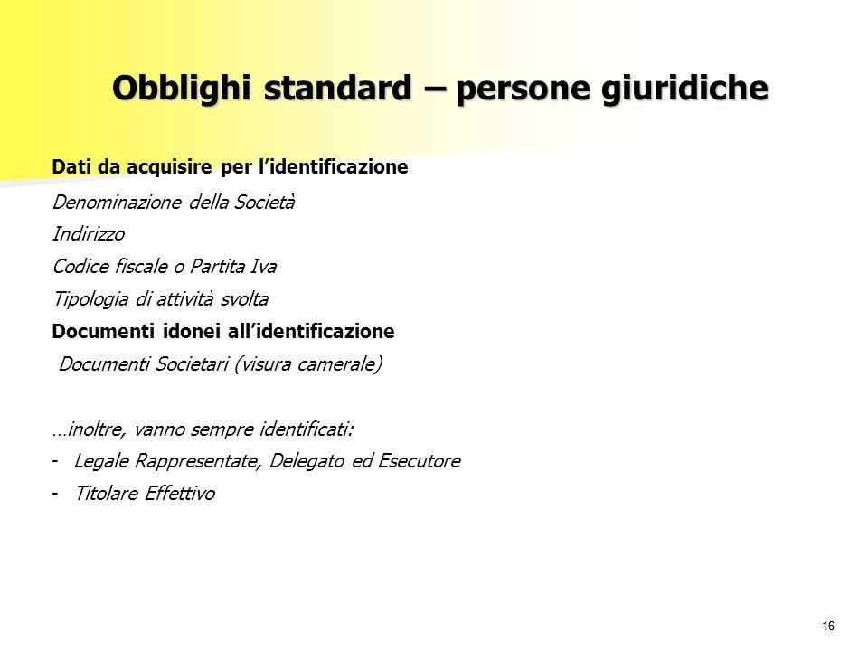 Obblighi standard – persone giuridiche