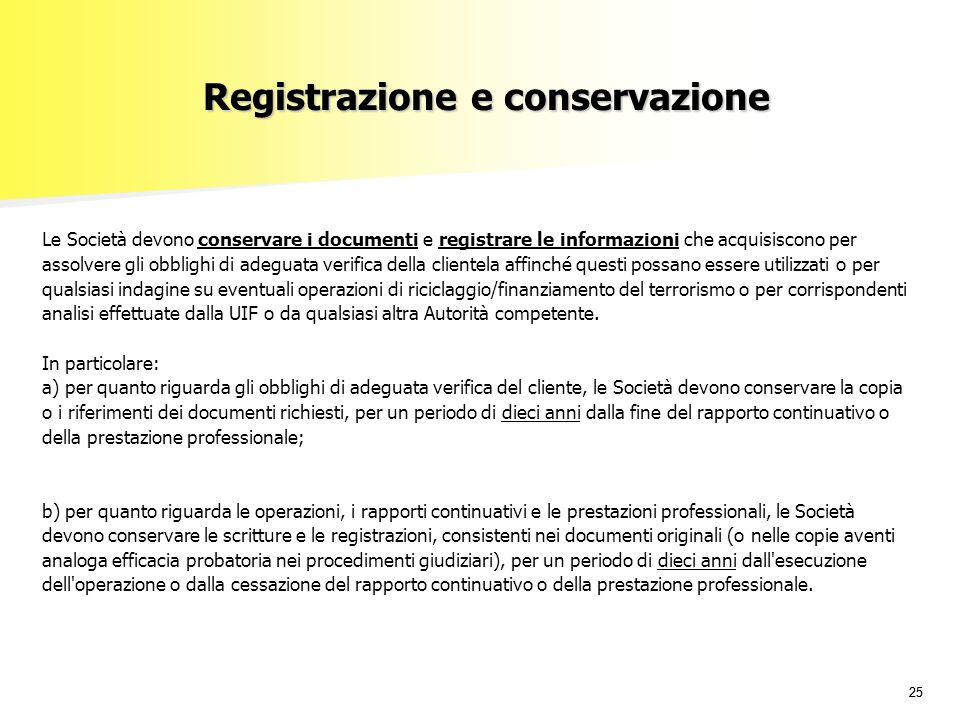 Registrazione e conservazione