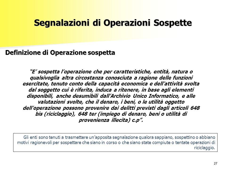Segnalazioni di Operazioni Sospette