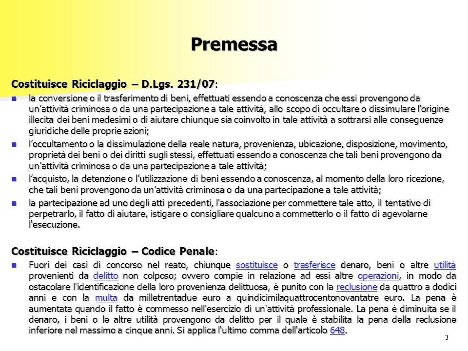 Premessa Costituisce Riciclaggio – D.Lgs. 231/07: