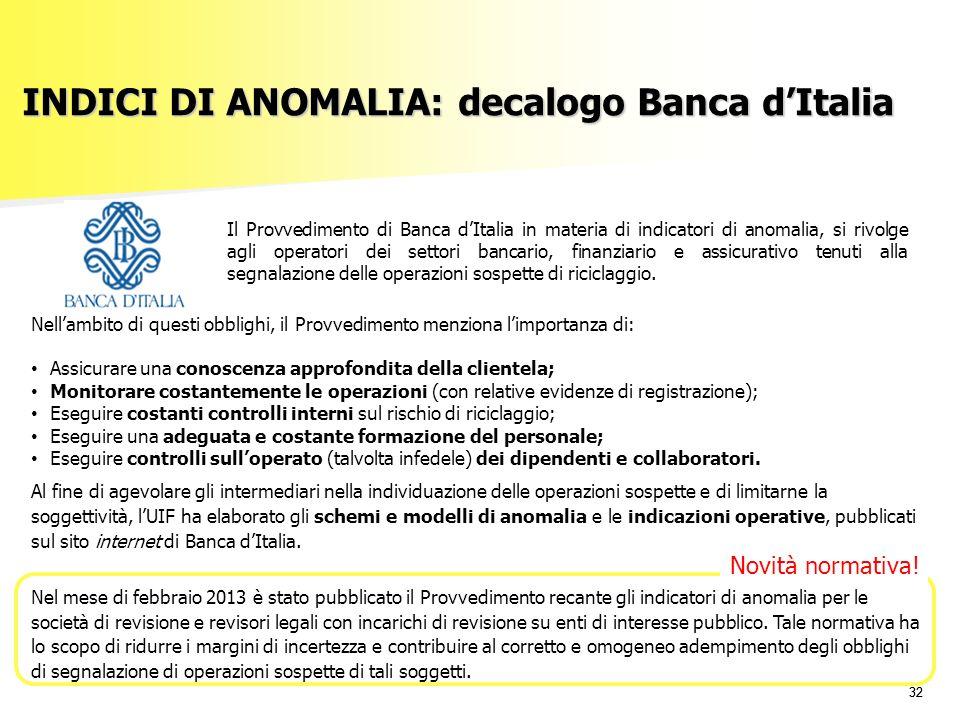 INDICI DI ANOMALIA: decalogo Banca d'Italia
