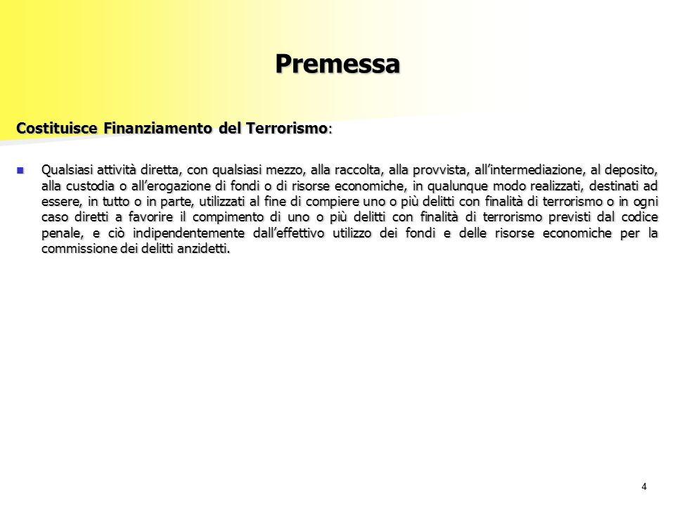 Premessa Costituisce Finanziamento del Terrorismo: