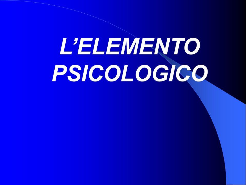 L'ELEMENTO PSICOLOGICO