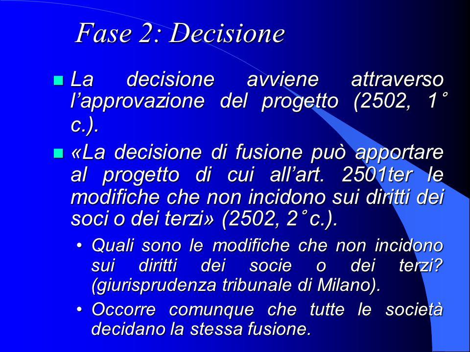 Fase 2: DecisioneLa decisione avviene attraverso l'approvazione del progetto (2502, 1° c.).