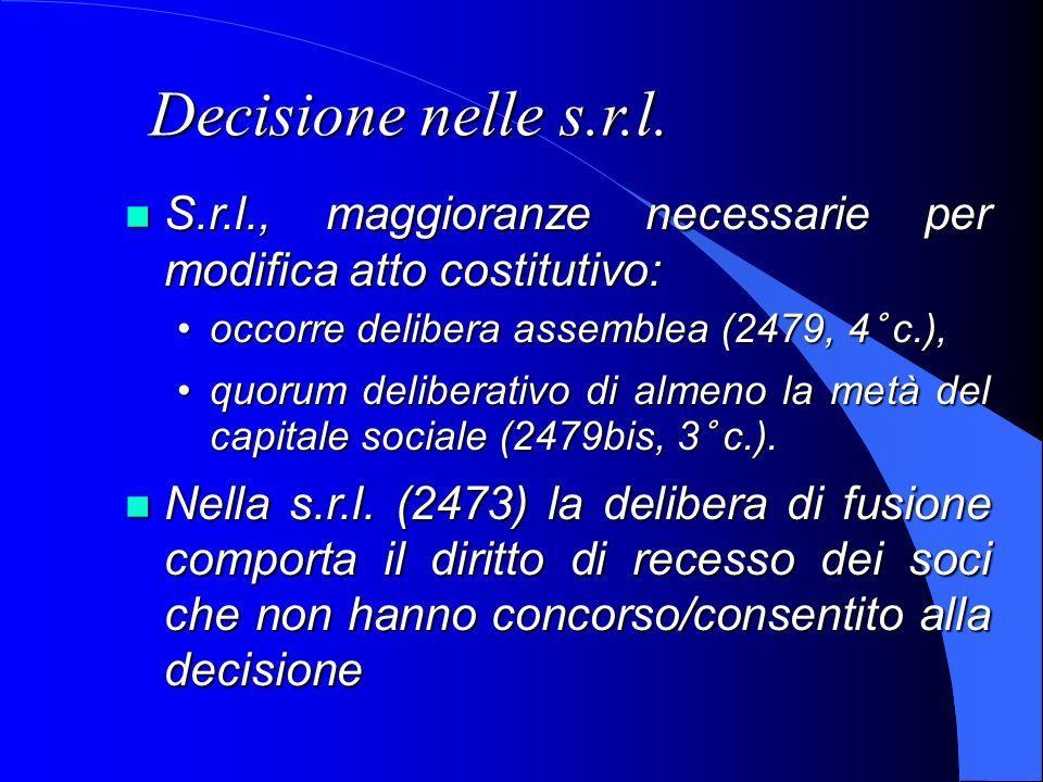 Decisione nelle s.r.l.S.r.l., maggioranze necessarie per modifica atto costitutivo: occorre delibera assemblea (2479, 4° c.),