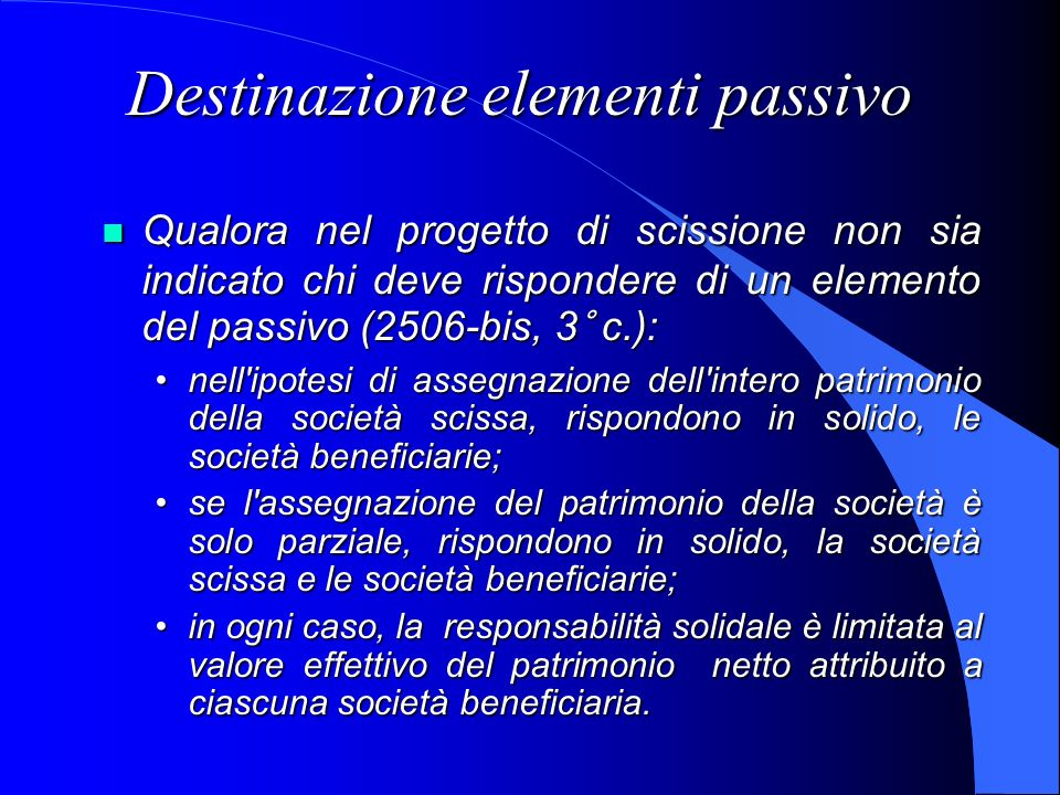 Destinazione elementi passivo