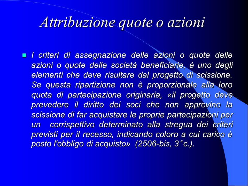 Attribuzione quote o azioni