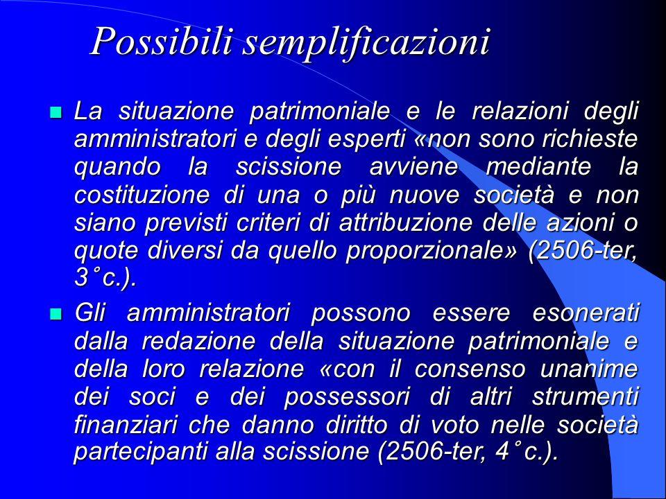 Possibili semplificazioni