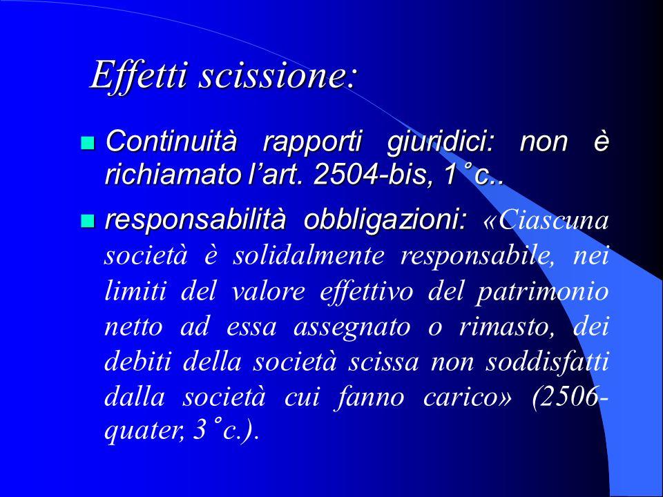 Effetti scissione:Continuità rapporti giuridici: non è richiamato l'art. 2504-bis, 1° c..
