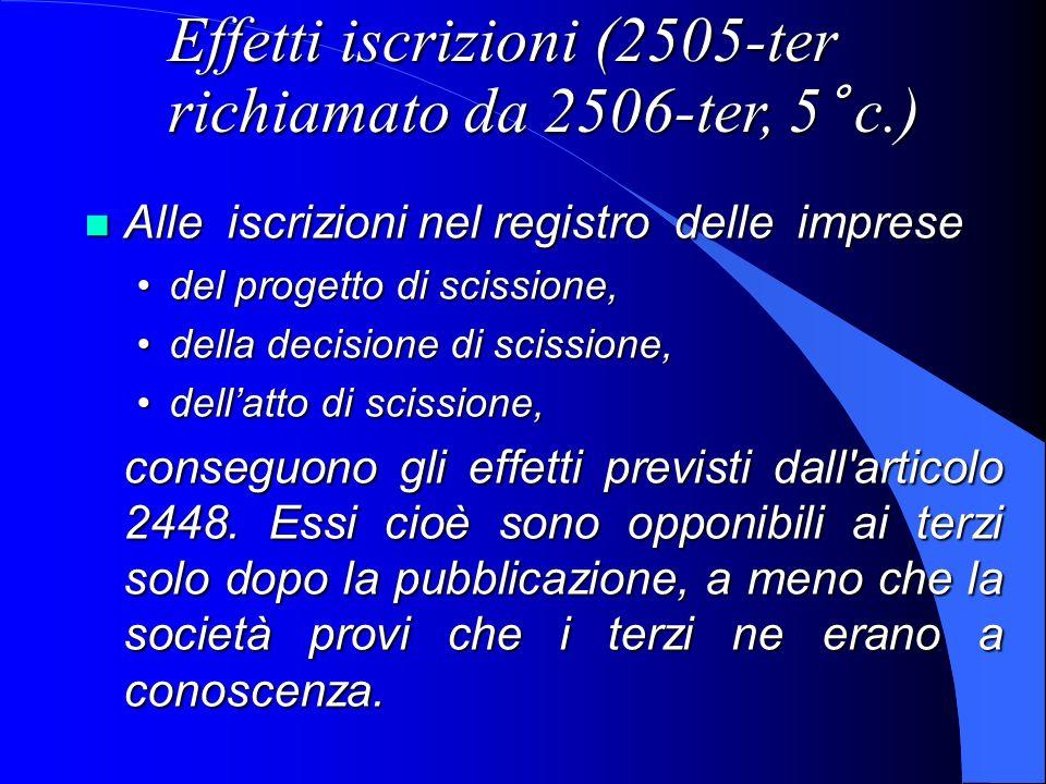 Effetti iscrizioni (2505-ter richiamato da 2506-ter, 5° c.)