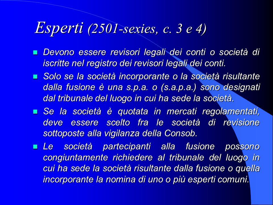 Esperti (2501-sexies, c. 3 e 4) Devono essere revisori legali dei conti o società di iscritte nel registro dei revisori legali dei conti.
