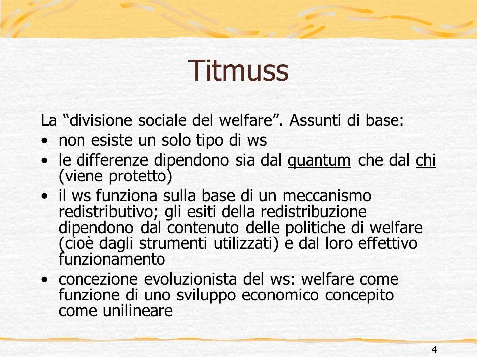 Titmuss La divisione sociale del welfare . Assunti di base: