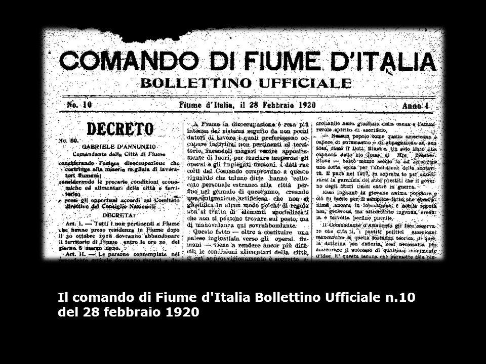 Il comando di Fiume d Italia Bollettino Ufficiale n