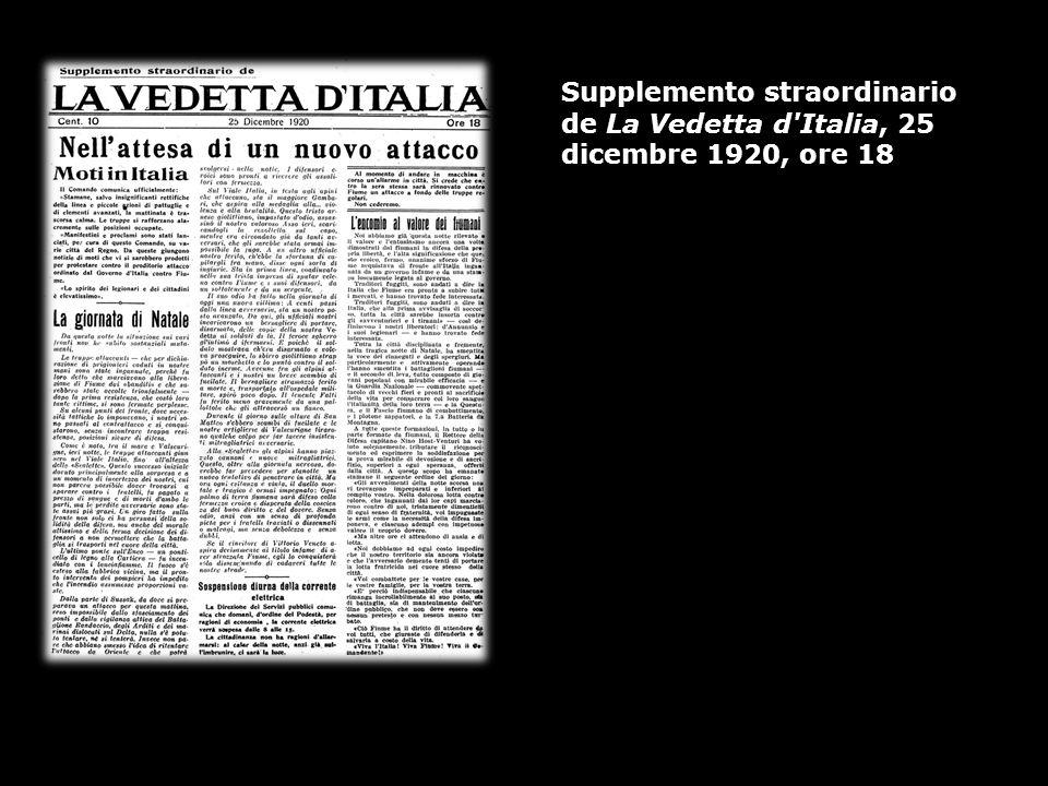 Supplemento straordinario de La Vedetta d Italia, 25 dicembre 1920, ore 18