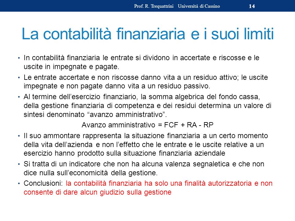 La contabilità finanziaria e i suoi limiti