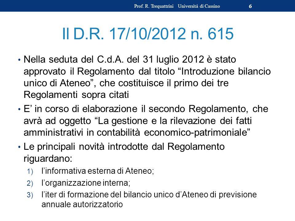 Prof. R. Trequattrini Università di Cassino