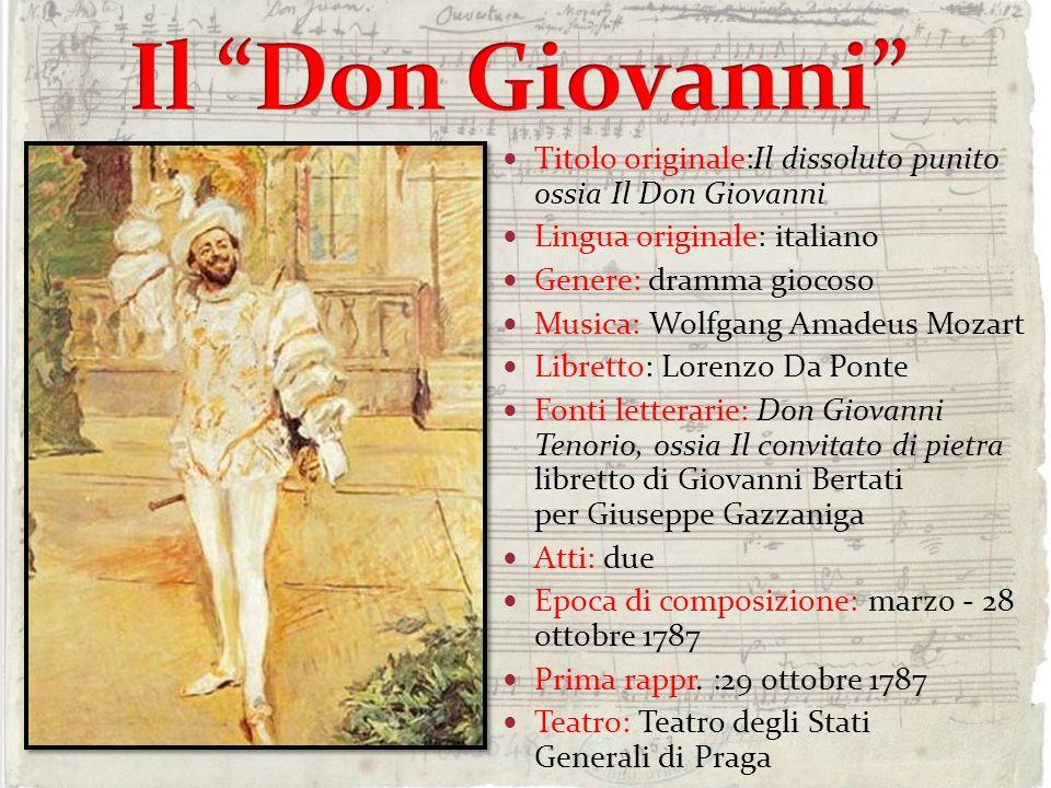 Il Don Giovanni Titolo originale:Il dissoluto punito ossia Il Don Giovanni. Lingua originale: italiano.
