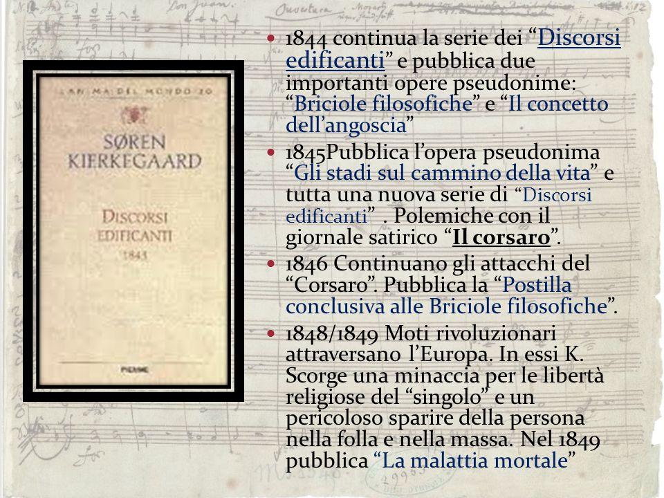 1844 continua la serie dei Discorsi edificanti e pubblica due importanti opere pseudonime: Briciole filosofiche e Il concetto dell'angoscia