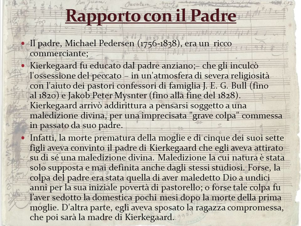 Rapporto con il PadreIl padre, Michael Pedersen (1756-1838), era un ricco commerciante;