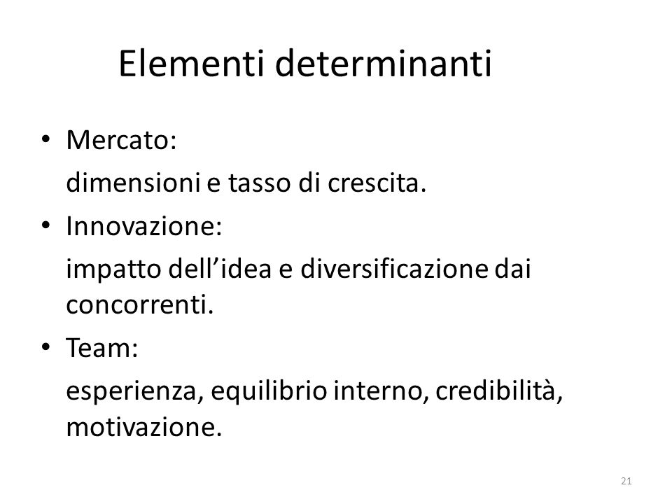 Elementi determinanti