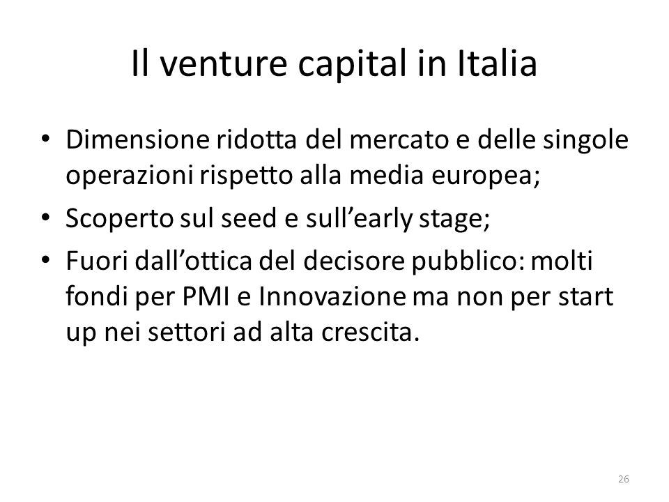 Il venture capital in Italia
