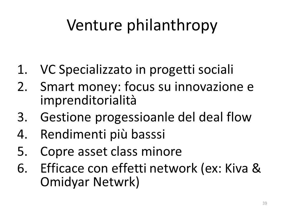 Venture philanthropy VC Specializzato in progetti sociali