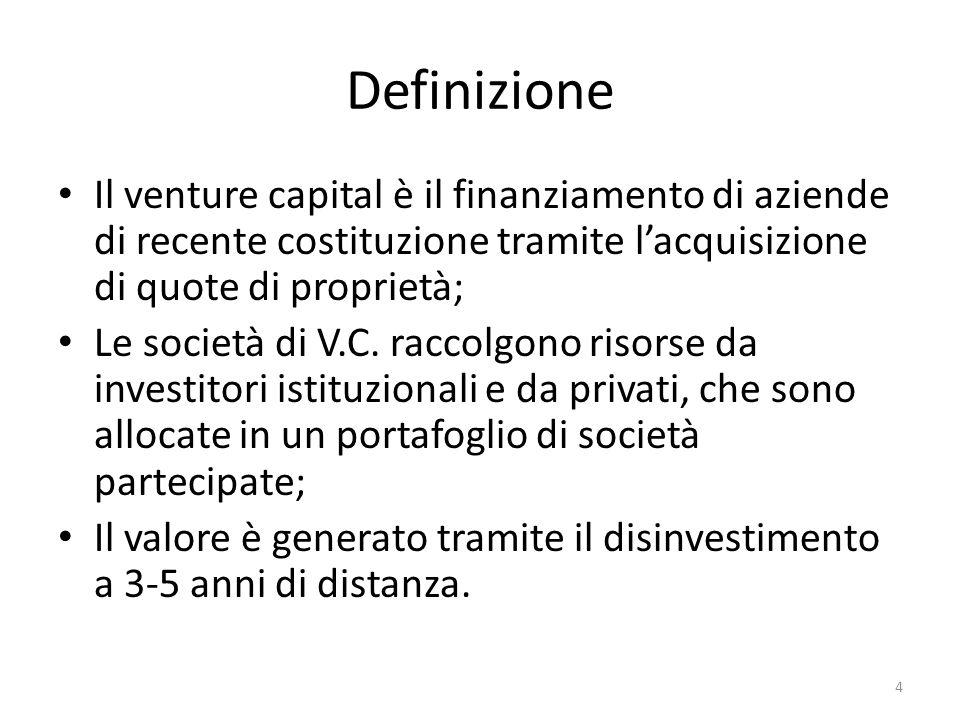 Definizione Il venture capital è il finanziamento di aziende di recente costituzione tramite l'acquisizione di quote di proprietà;