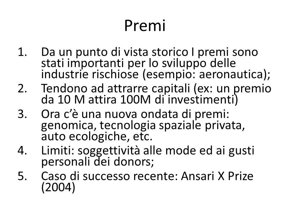 Premi Da un punto di vista storico I premi sono stati importanti per lo sviluppo delle industrie rischiose (esempio: aeronautica);