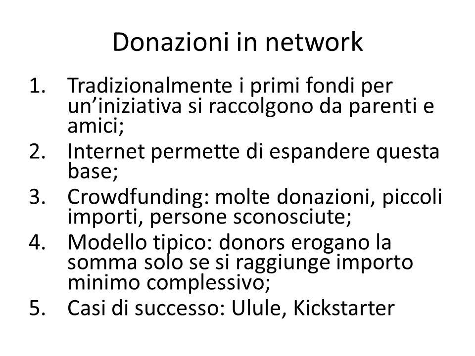 Donazioni in network Tradizionalmente i primi fondi per un'iniziativa si raccolgono da parenti e amici;