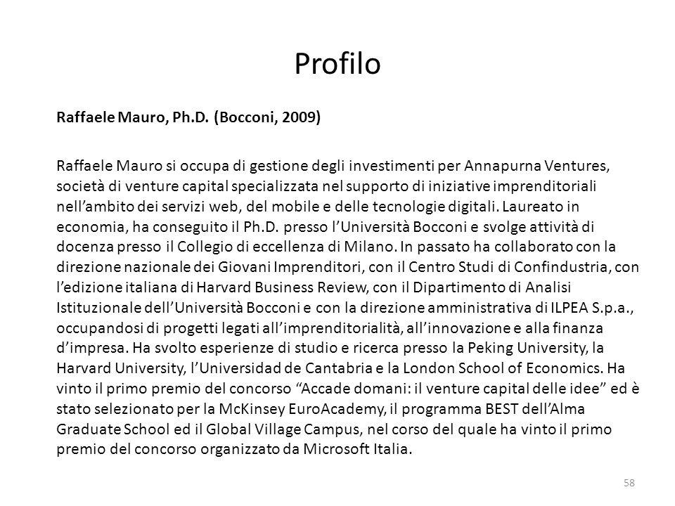 Profilo Raffaele Mauro, Ph.D. (Bocconi, 2009)