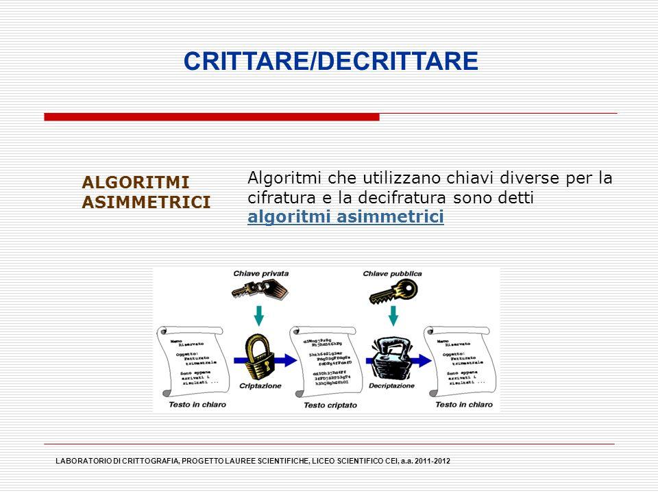 CRITTARE/DECRITTARE Algoritmi che utilizzano chiavi diverse per la cifratura e la decifratura sono detti algoritmi asimmetrici.