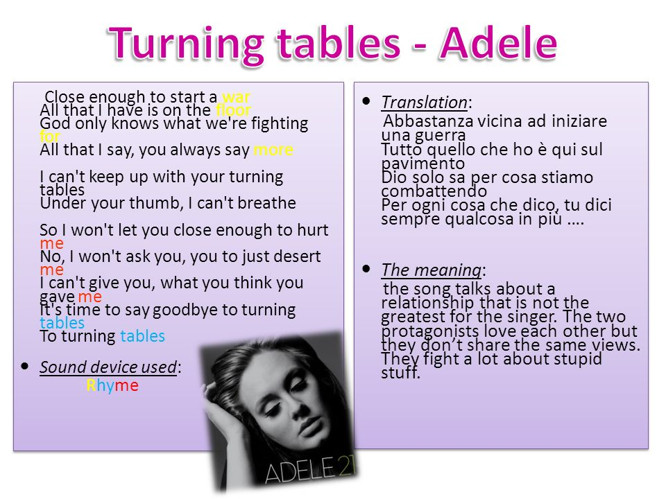 Turning tables - Adele Translation: