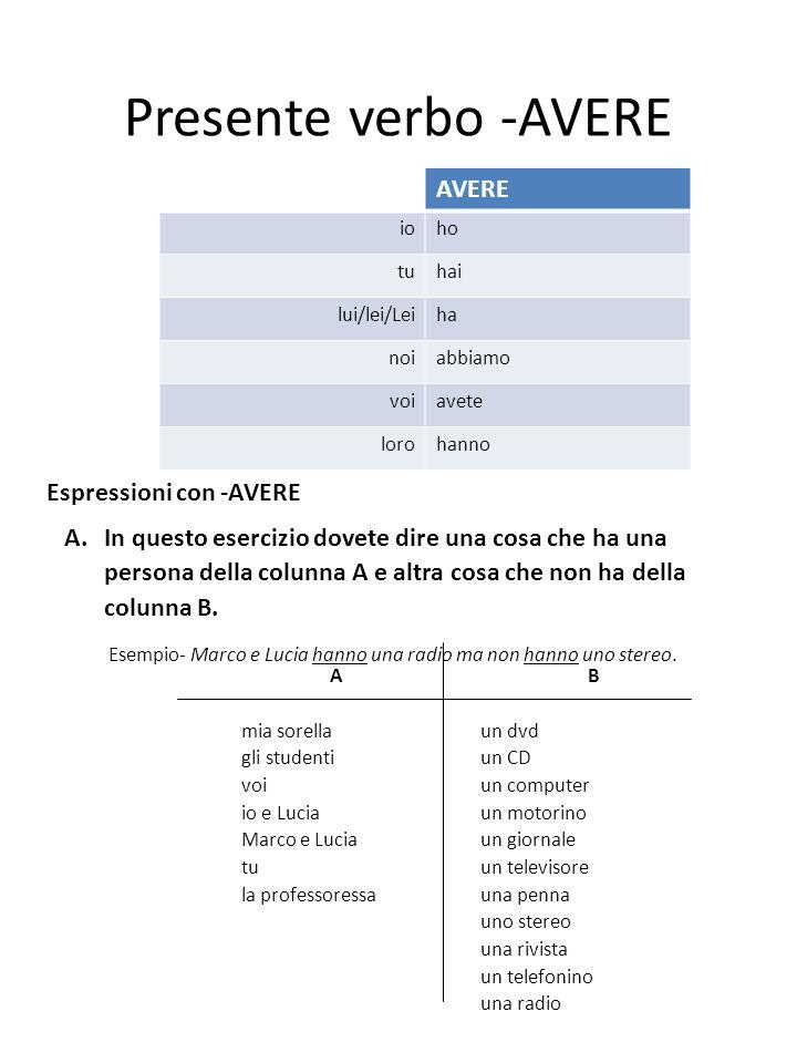 Presente verbo -AVERE AVERE Espressioni con -AVERE