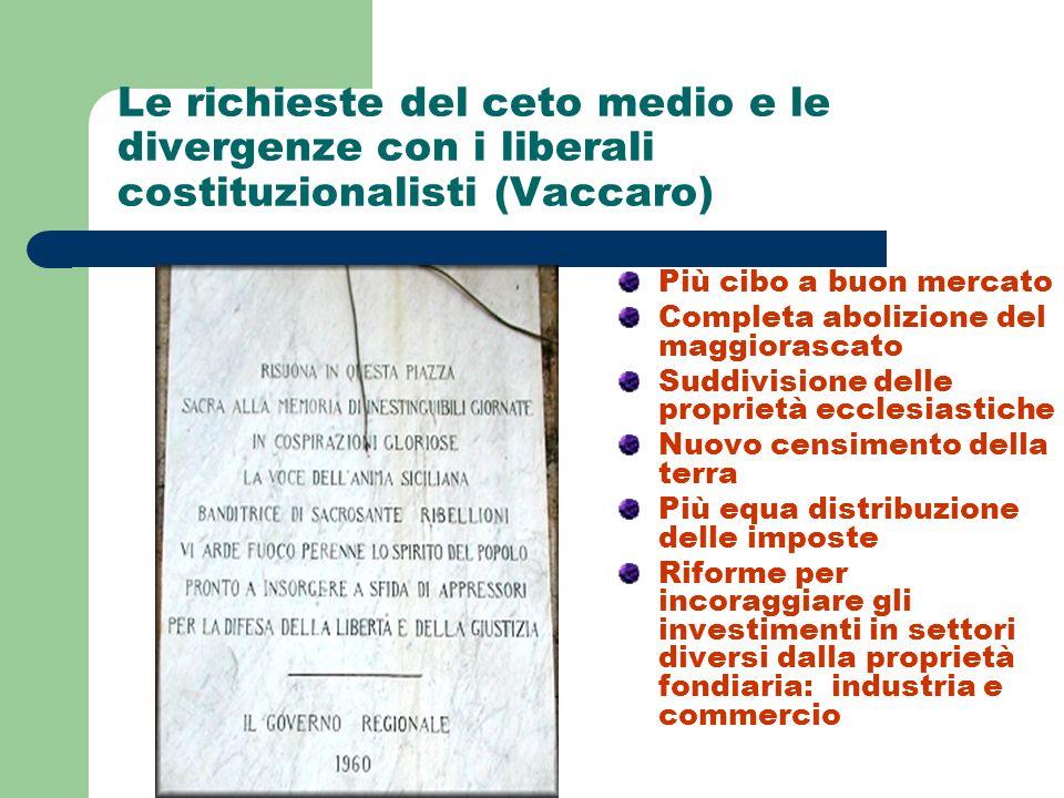 Le richieste del ceto medio e le divergenze con i liberali costituzionalisti (Vaccaro)