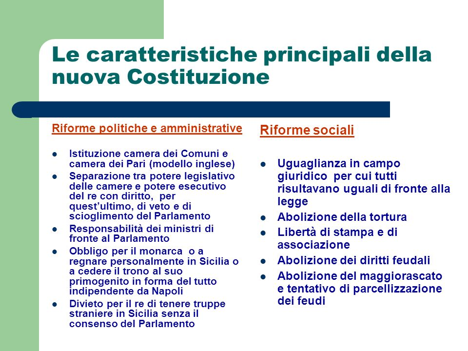 Le caratteristiche principali della nuova Costituzione