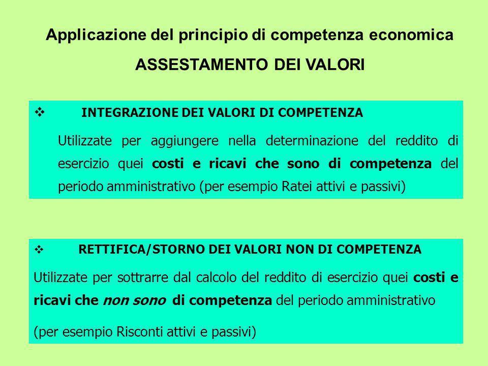 Applicazione del principio di competenza economica