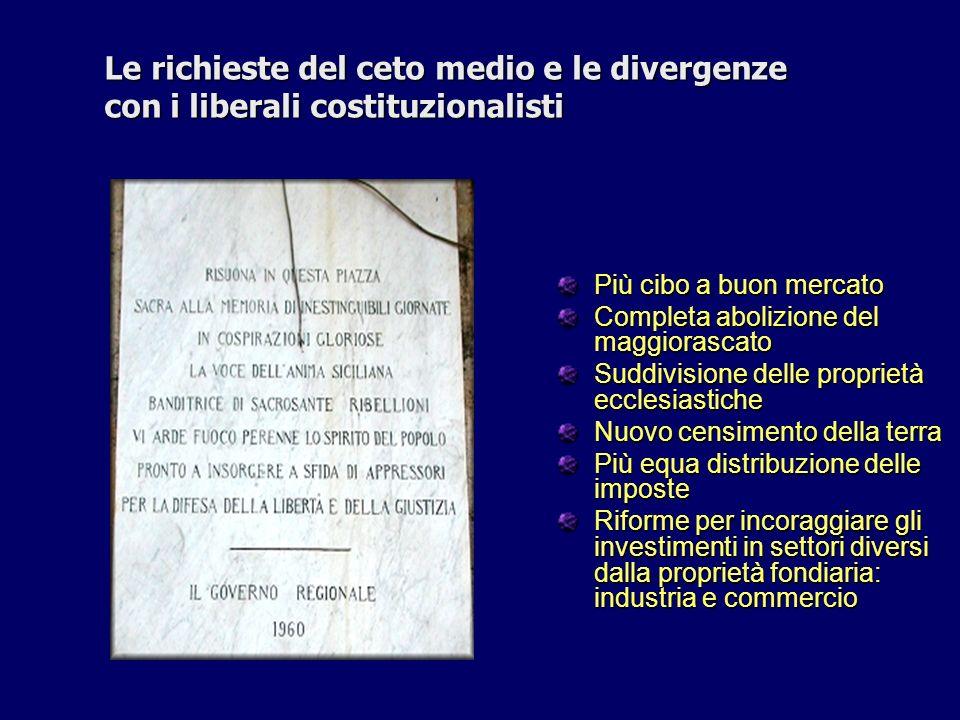 Le richieste del ceto medio e le divergenze con i liberali costituzionalisti