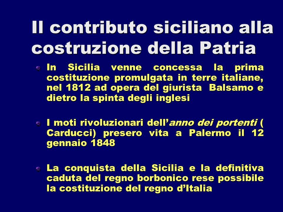Il contributo siciliano alla costruzione della Patria