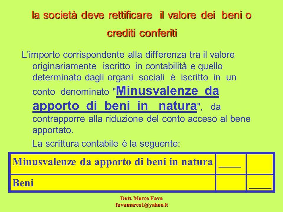 la società deve rettificare il valore dei beni o crediti conferiti