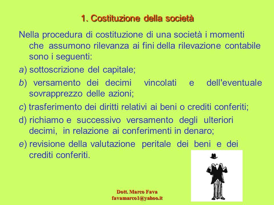1. Costituzione della società