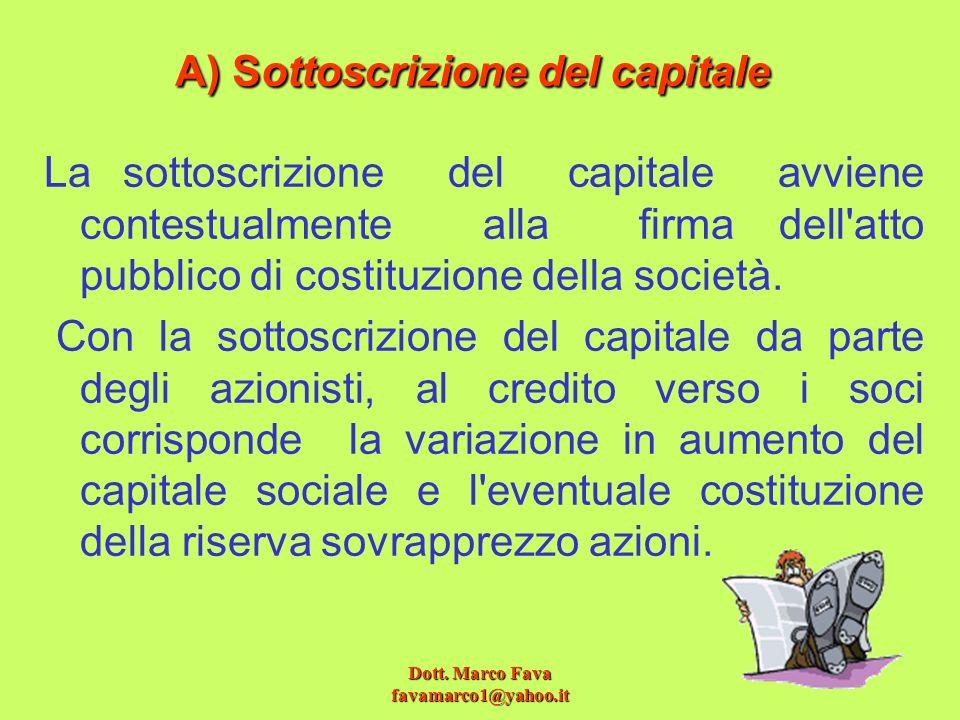 A) Sottoscrizione del capitale