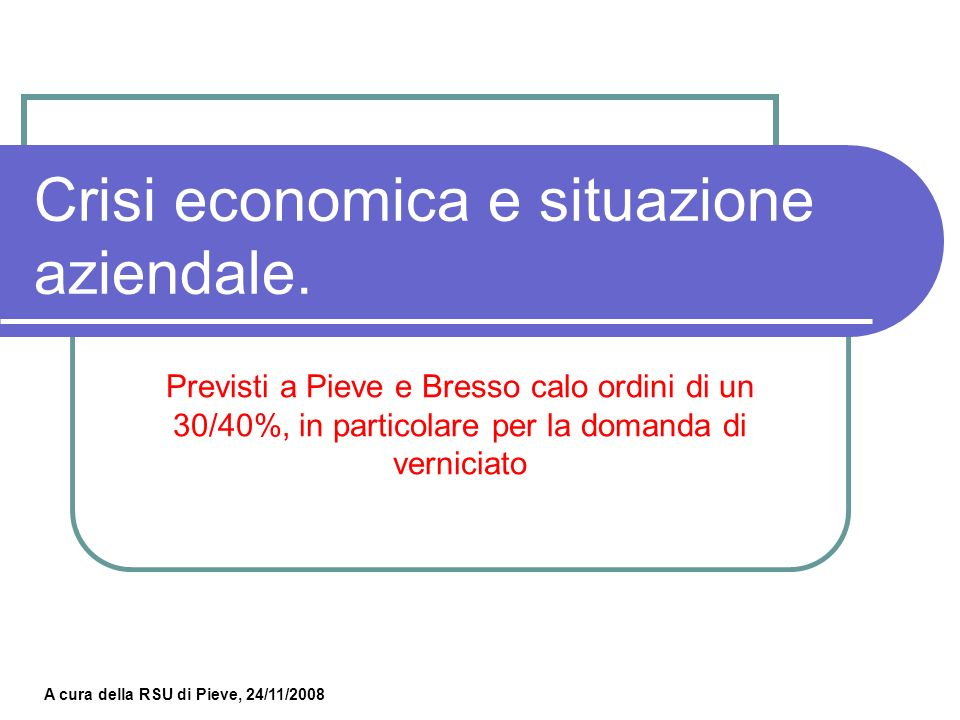 Crisi economica e situazione aziendale.