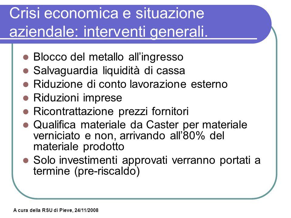 Crisi economica e situazione aziendale: interventi generali.