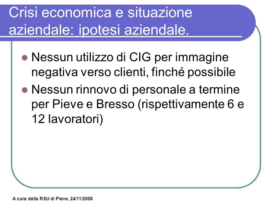 Crisi economica e situazione aziendale: ipotesi aziendale.