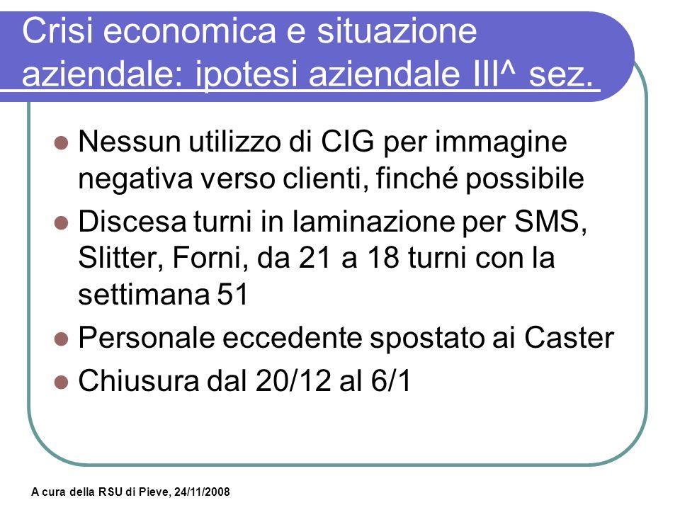 Crisi economica e situazione aziendale: ipotesi aziendale III^ sez.