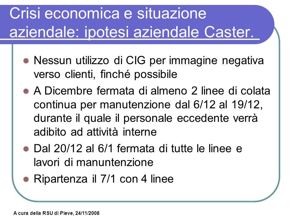 Crisi economica e situazione aziendale: ipotesi aziendale Caster.