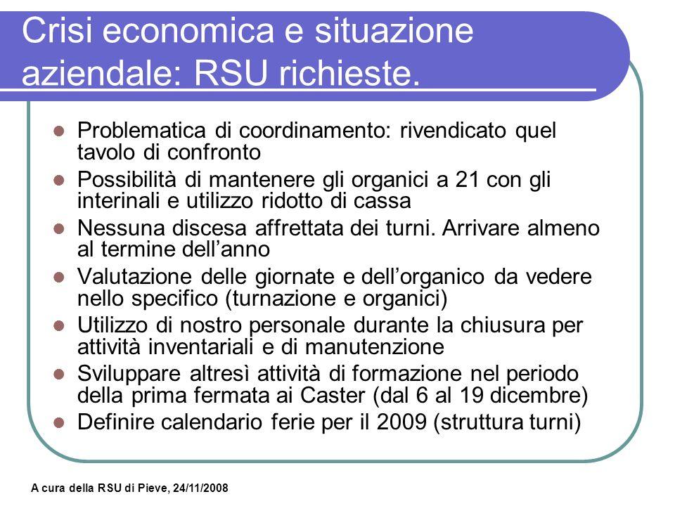 Crisi economica e situazione aziendale: RSU richieste.