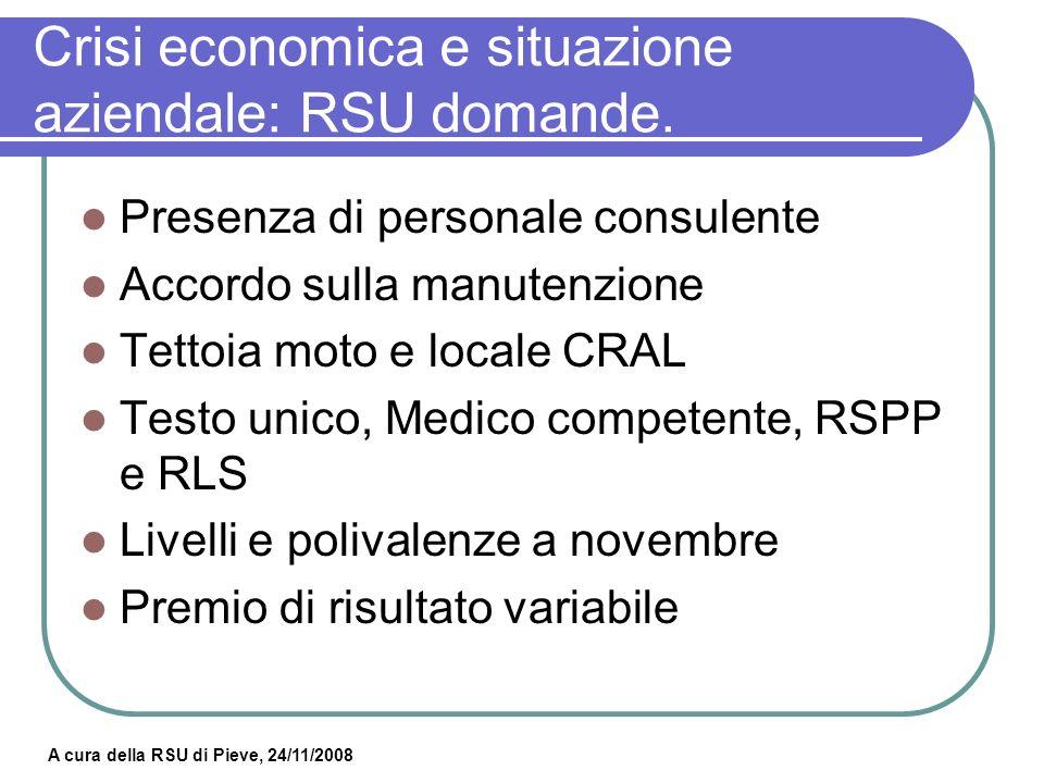 Crisi economica e situazione aziendale: RSU domande.