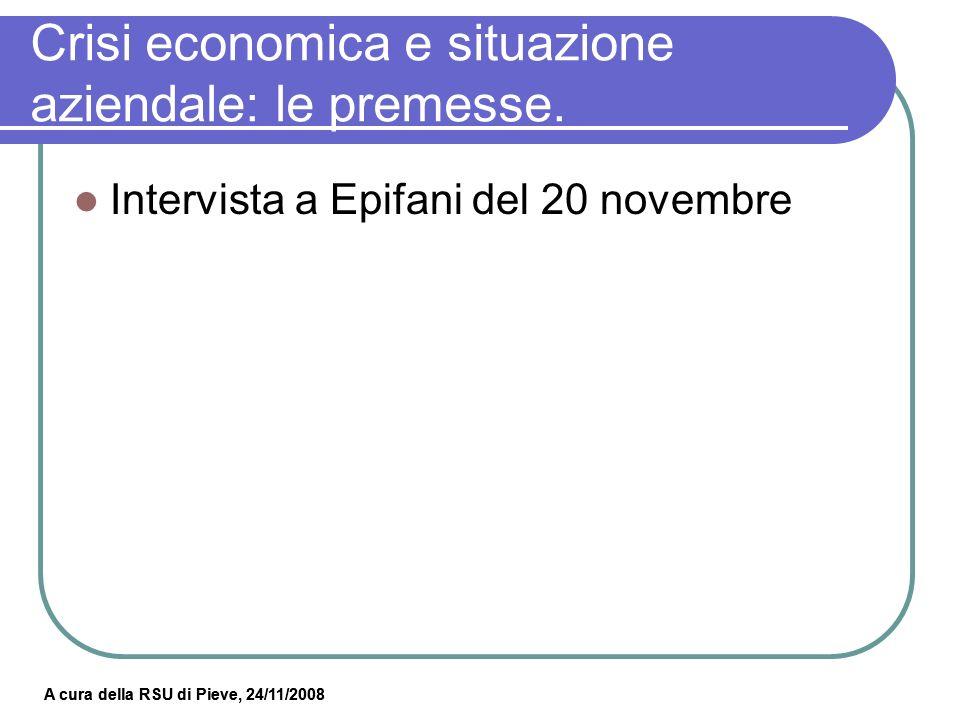 Crisi economica e situazione aziendale: le premesse.